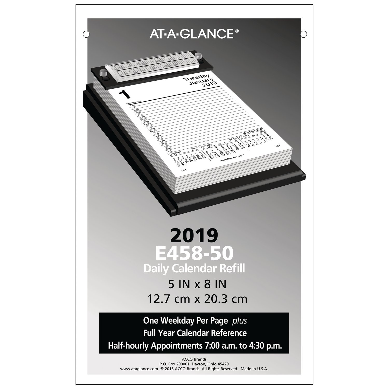 AT-A-GLANCE 2019 Daily Desk Calendar Refill, 5'' x 8'' (E458-50)