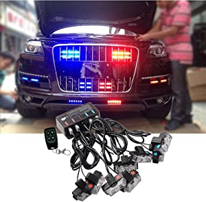 ATMOMO Blue RED LED Flashing Modes Car Truck Emergency Flash Dash Vehicle Strobe Light Lamp Bars Warning Deck Dash Front Rear Grille with Remote Control