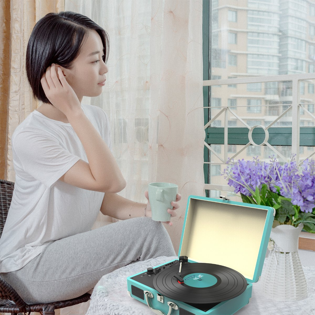 Record Player, MSTING Turntable Bluetooth for Vinyl Record 3 Speed with Two Dual Stereo Speakers Belt Drive Turntable with Headphone, RAC,USB/SD Card Recording by MSTING (Image #6)