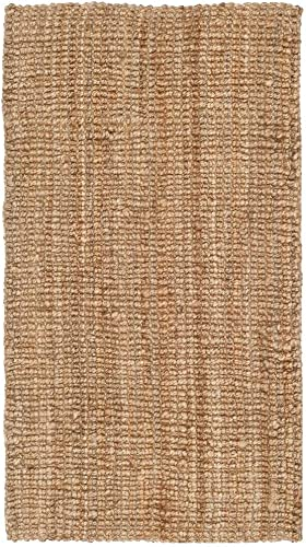 HNU 9 X 12 Casual Hand-Woven Latex Free Natural Brown Fiber Jute Rug – Reversible Shabby Chic Solid Color Pattern Plain Weave Richly Textured Farmhouse Area Rugs – Indoor, Outdoor, Patio