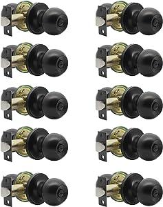 knobelite(10 Pack) Bed/Bath Room Round Door Knob,Privacy Function for Bathroom/Bedroom,Interior Door Door Lock Handle Black Finish, Keyless(Thumb Turn Lock on The Inside) Door Handles Locks