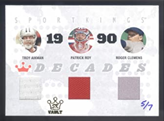 66efe96beee 2015 Sportking Vault 07 Troy Aikman Patrick Roy Roger Clemens Triple Jersey   5 7
