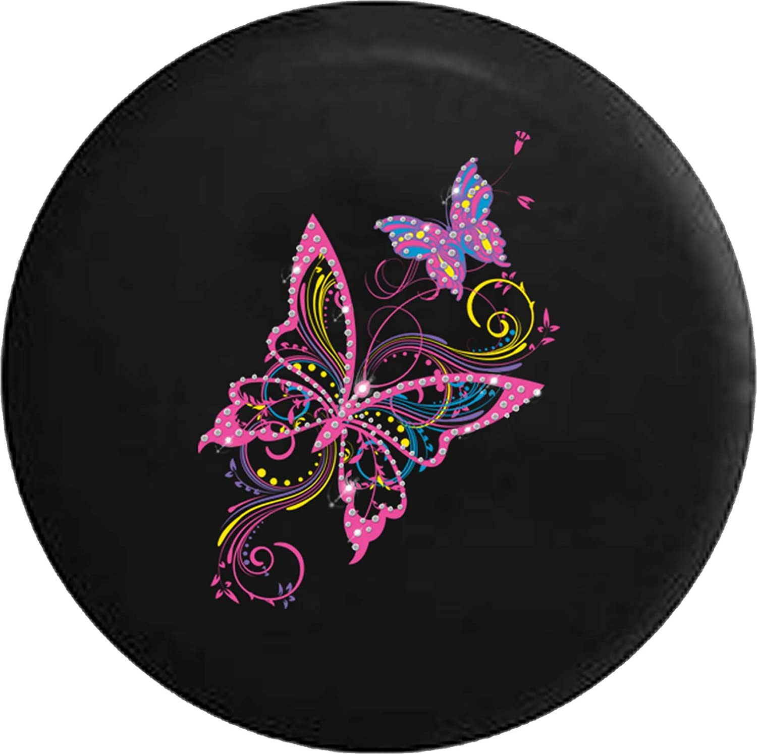 556 Gear Glittery Butterflies Artistic Swirls Pink Yellow Girl Jeep RV Spare Tire Cover Black 35 in
