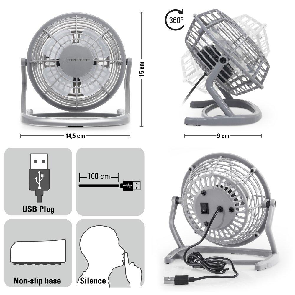 360/° Neigungswinkel ger/äuscharm mit An//Aus-Schalter TROTEC TVE 1O Mini USB Ventilator//Fan//L/üfter Pumpkin Orange