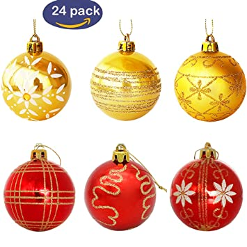 Christmas Ball Ornaments Luxury Collection Red And Gold Shatterproof Tree 236quot