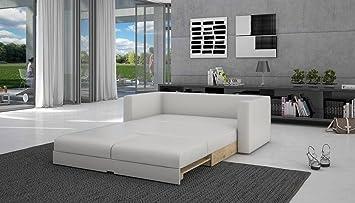 Schlafcouch Ausziehbar schlaf sofa mit kunstleder in weiß 120x200 cm tonsbra 120 sofa