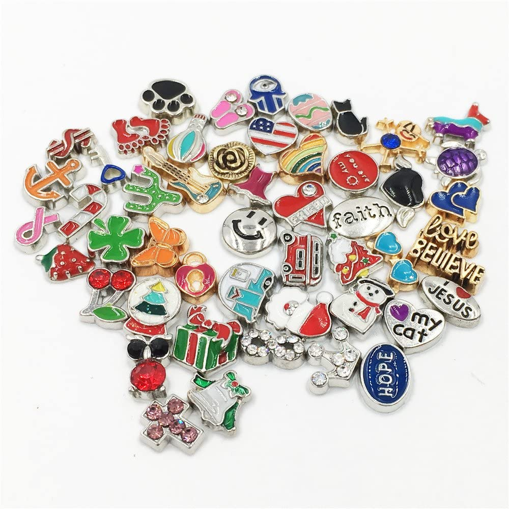 Metal Floating Charms Lot for DIY Glass Living Memory Locket Silver Gold Color Mixed Style (50Pcs)