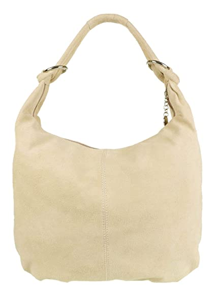 821886fbc7 Italian Genuine Suede Real Leather Shoulder Bag Hobo Slouch Designer Handbag  (Beige)