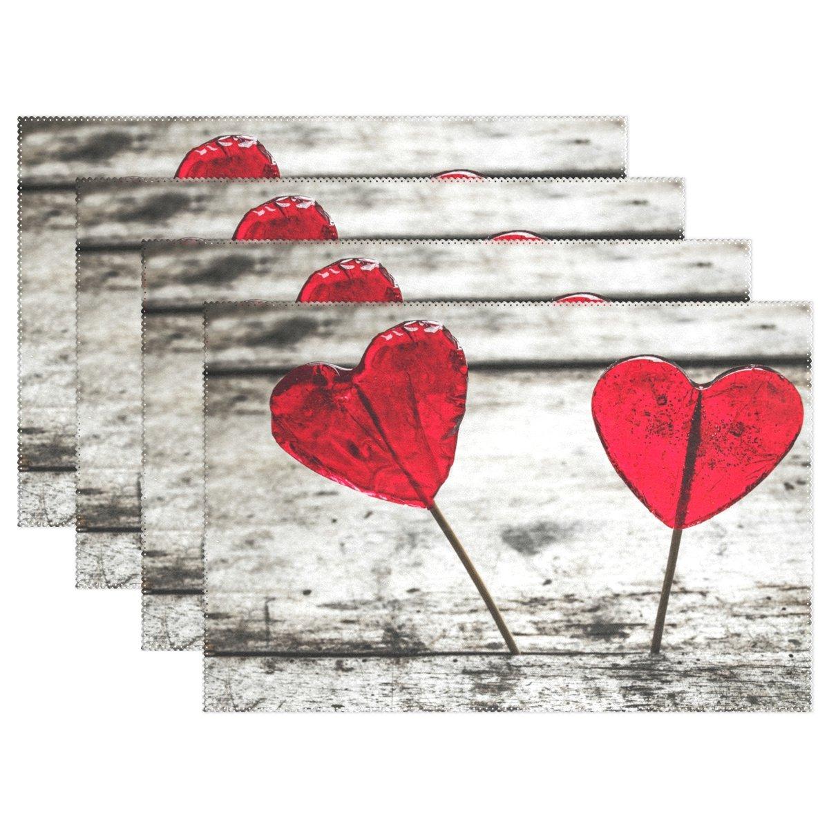 naanleバレンタインの日、プレースマットフローラルレッドハート耐熱Washableテーブルデコレーションを配置用マットキッチンダイニングテーブル 12*18inch 1834677p145c160s252 6 マルチカラー5 B07855NL4R