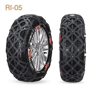 VIFLYKOO Cadenas de Nieve [4-Pack] Cadenas Coche Antideslizante Cadenas de Neumático de Nieve Chains para la Mayoría de Automóvil/SUV/Camión - Negro: ...