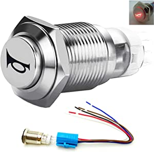 Viping Push Button Switch Car Horn Button Switch momentary Switch Connector 12V DIY Switch 16mm Red LED On/Off Reset Switch Button Metal Speaker Horn Switch Power Metal Toggle Switch Car Boat Moto