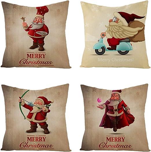 "Details about  /18/"" Merry Christmas Elk Santa Claus Pillow Cases Sofa Cushion Cover Home Decor"