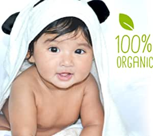 Baby hooded towel JJL Snuggle - 100% Organic made from Bamboo a complete new born babies & kids up to 8yrs Gift set - 90 cm x 90 cm - Bonus comes with washcloth & Mitten