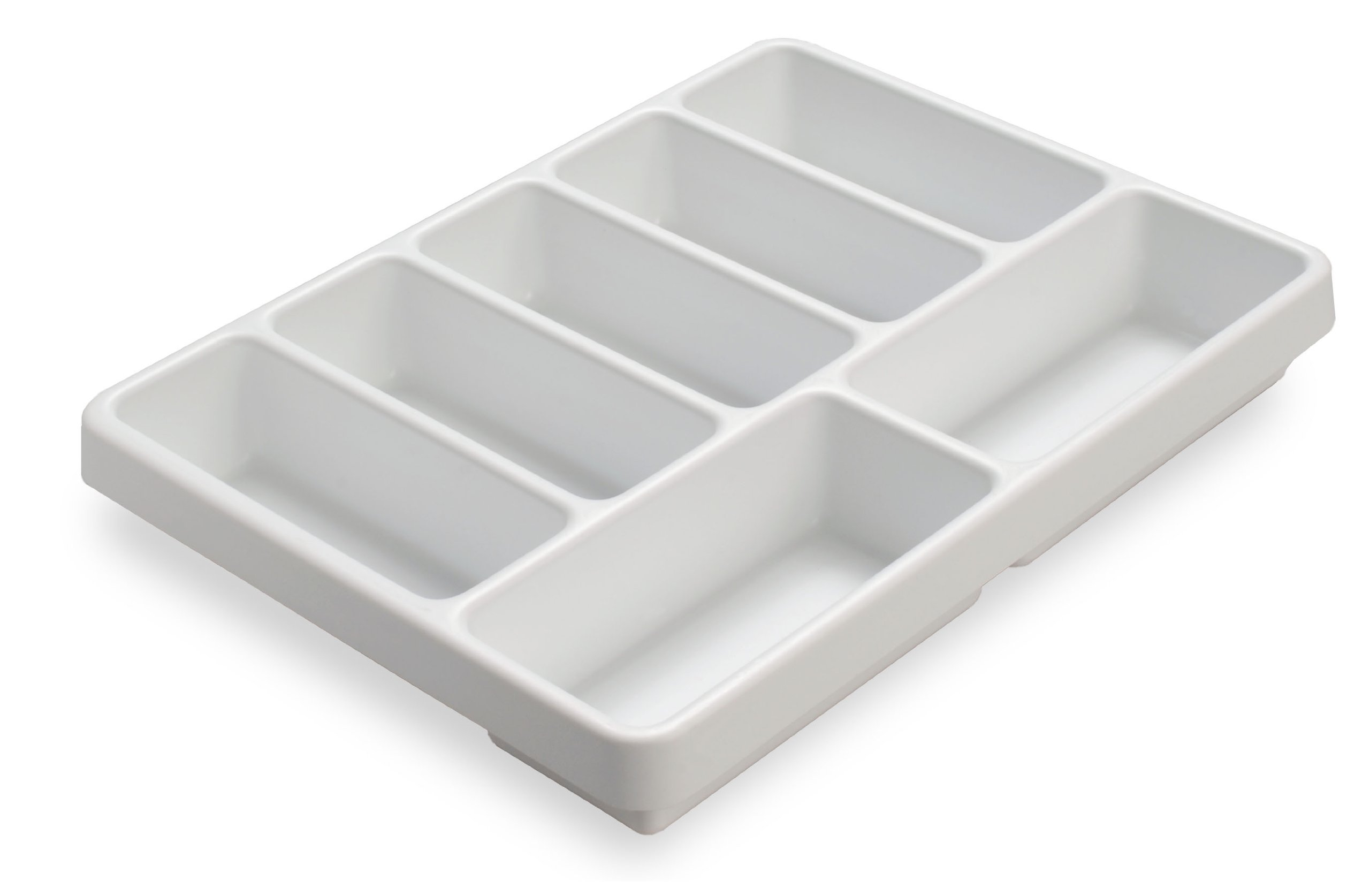 TrippNT 50032 White Polystyrene Plastic Drawer Organizer, 7 Compartments, 16.8'' Width x 2.4'' Height x 12.9'' Depth