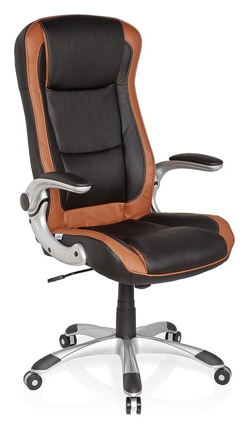 hjh OFFICE 621770 silla de oficina RACER COMPACT piel sintética marrón claro / negro, buen acolchado, inclinable, muy cómodo, con apoyabrazos ...