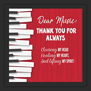 """Music themed decor   Unique 7x7"""" Music Wall Art for Bedroom or Music Studio Decor   Framed Wall Decor   Gifts for Piano or Keyboard Player   Music Art for Musician"""