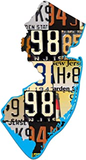 product image for NEW JERSEY License Plate Vintage Aluminum Map Sign, GARDEN STATE Metal Sign Garage Art Man Cave Plasma Cut Aluminum UV Printed Rustic Sign Birthday Gift Patriotic Sign Holiday Gift