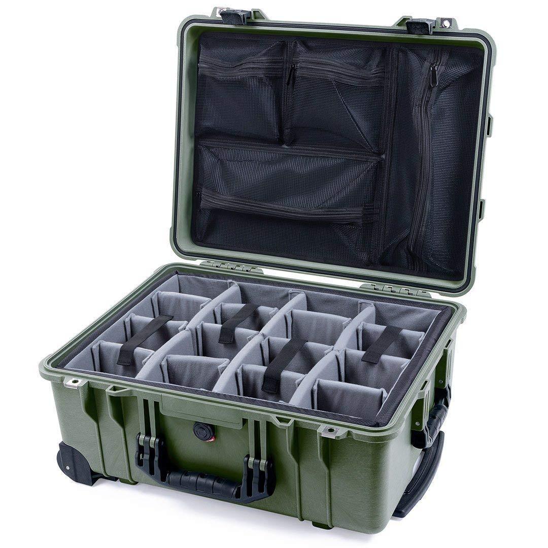 ODグリーン&ブラック ペリカン1560ケース グレーの仕切り&メッシュオーガナイザー付き B07SBZ79XG