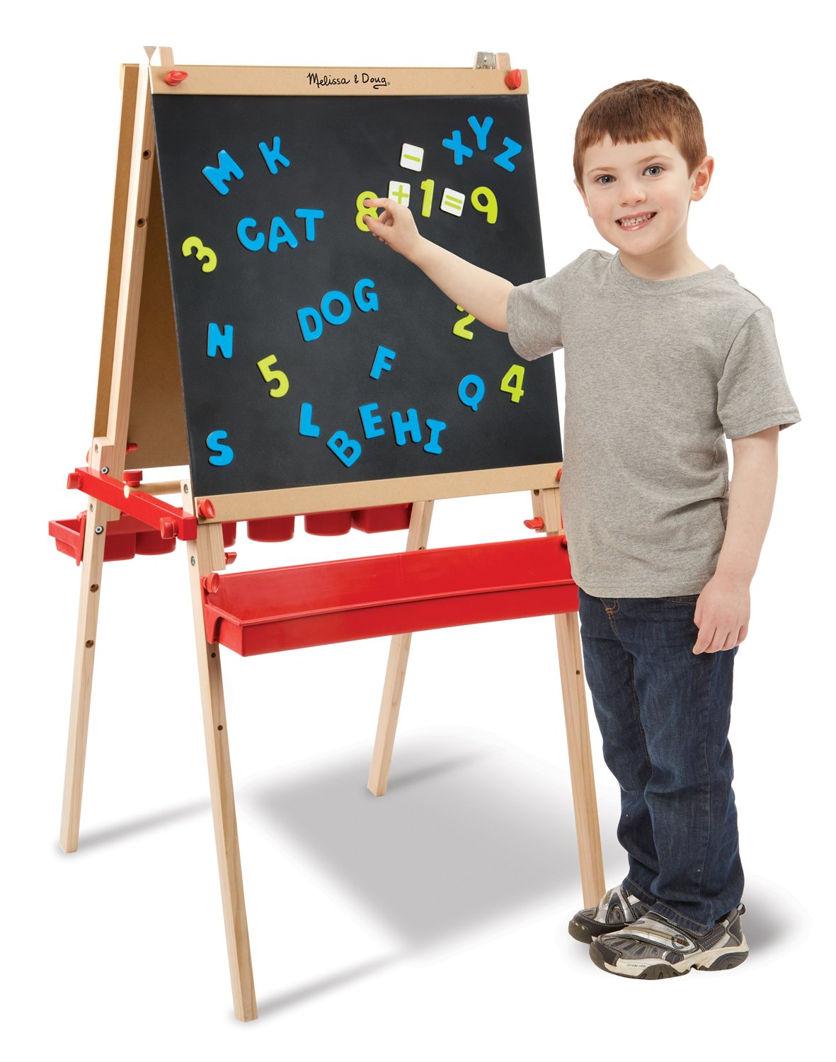 Melissa & Doug Deluxe Magnetic Standing Art Easel With Chalkboard, Dry-Erase Board, and 39 Letter and Number Magnets