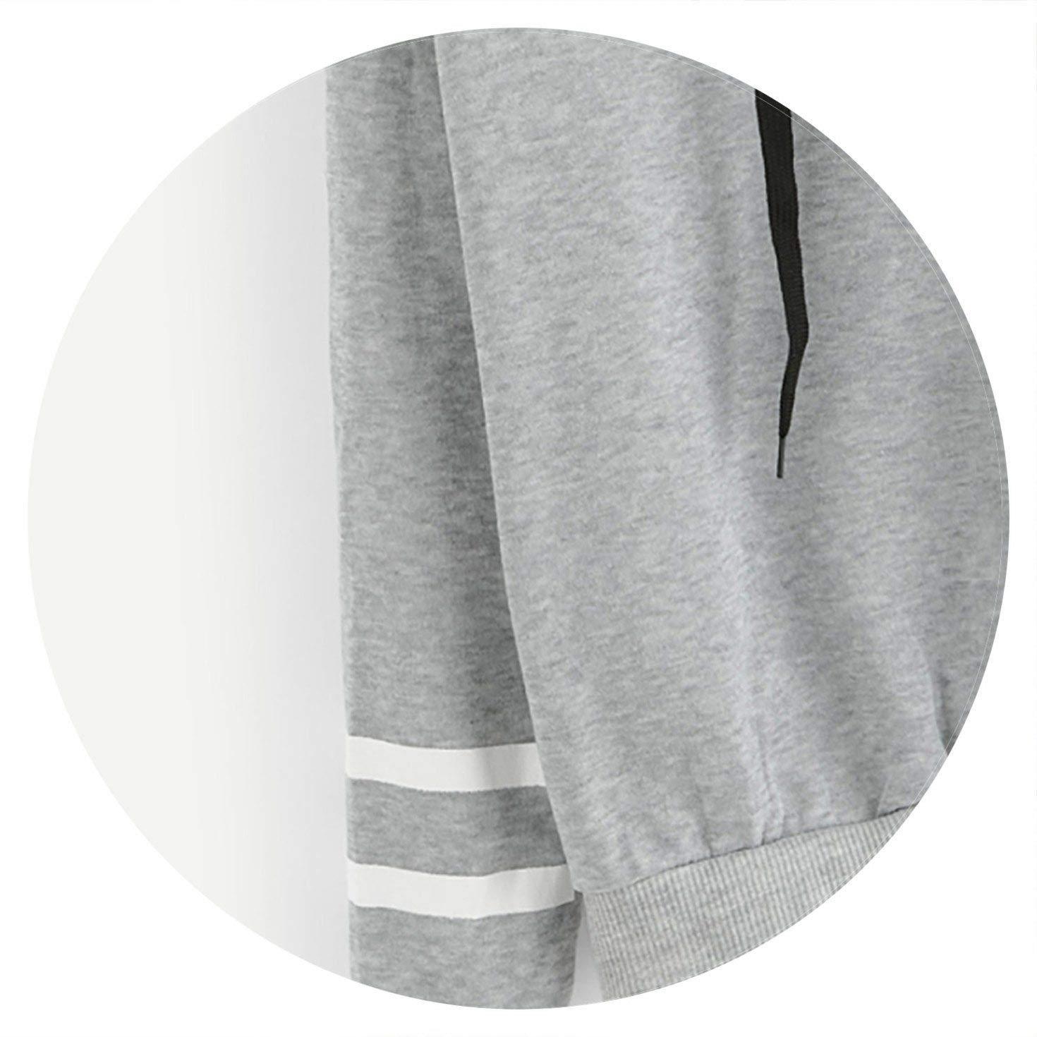shine-hearty Grey Floral Print Striped Hoodie Women Hooded Long Sleeve Drawstring Sweatshirt