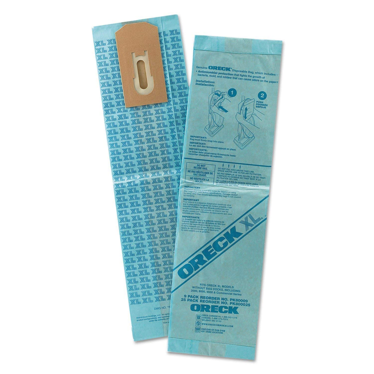 Commercial PK80009 Disposable Vacuum Bags XL Standard Filtration Pack of 9 by Oreck Commercial