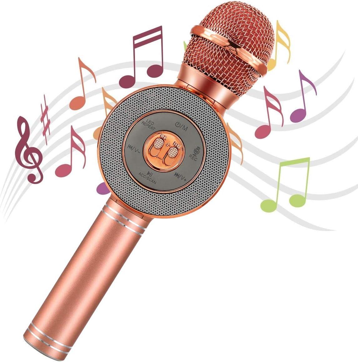 AGPTEK Micrófono Karaoke Bluetooth, 4 en 1 Micrófono Inalámbrico Karaoke Portátil con Altavoces y Luces LED, Grabador, Ideal para Niños Canta Partido Música, KTV, Rosa