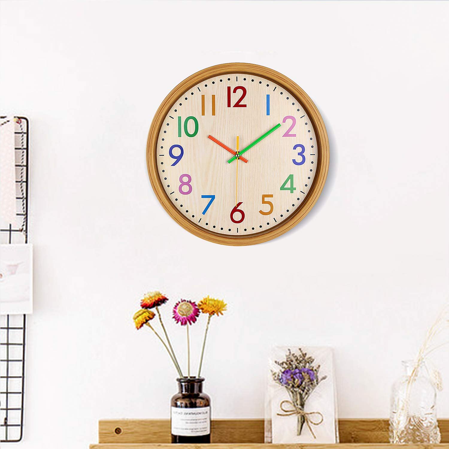 AIOLOC Kids Eco-friendlly Imitate Wood Wall Clock 12.5 Inch Silent Colorful Decorative Battery Operated Clocks Easy To Read for Children's Room by Ticktar (Image #7)