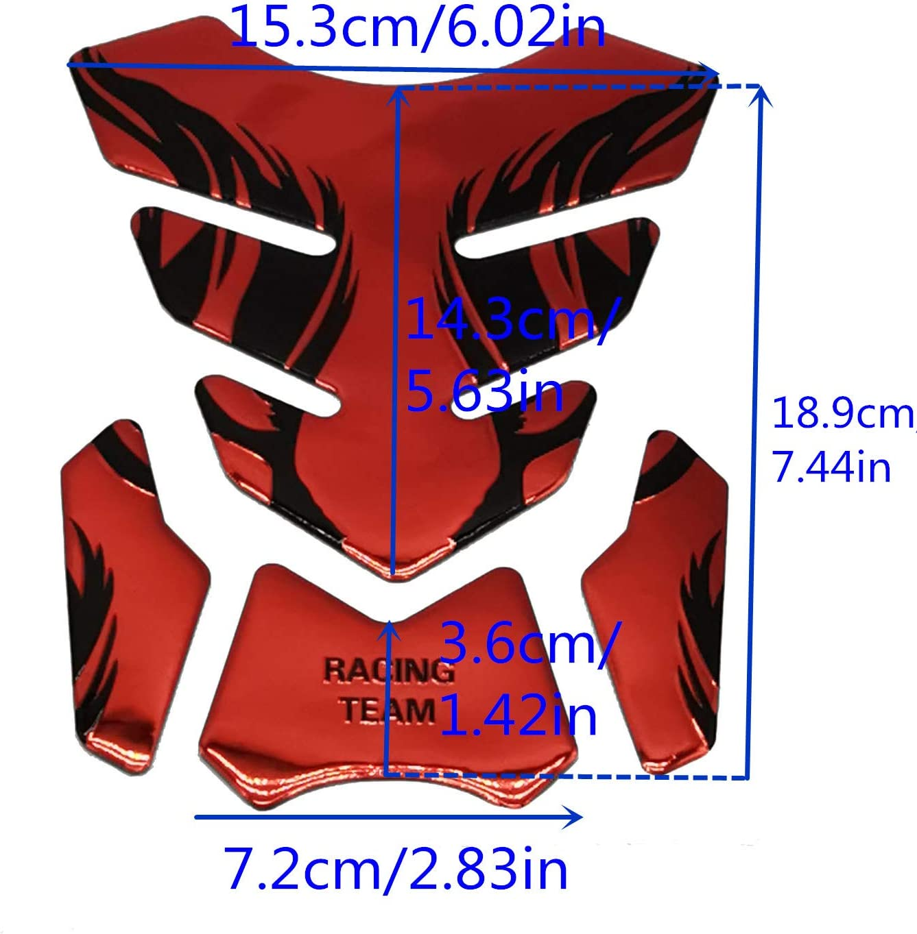 Motorcycle Fuel Tank Pads 3D Rubber Tank Protector Gas Oil Fuel Decal and Gel Sticker ATV Vehicles Red