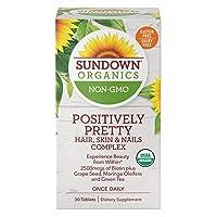 Sundown Organics Positively Pretty Hair Skin & Nails Vitamins, with Biotin & Zinc...