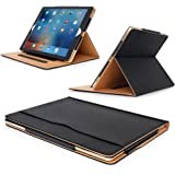 """MOFRED® Black & Tan Apple iPad Pro 12.9"""" (2015 & 2017 Version) Leather Case-MOFRED®- Executive Multi Function Leather Standby Case for Apple New iPad Pro with Built-in magnet for Sleep & Awake Feature -- Independently Voted by """"The Daily Telegraph"""" as #1 iPad Case!"""