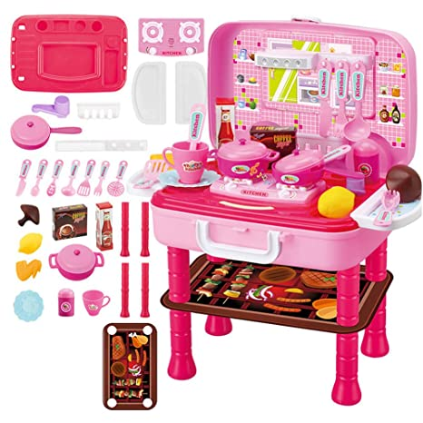 Upmall Educational Toy Kitchen Toys Set Portable Suitcase Kitchen Toy For Kids