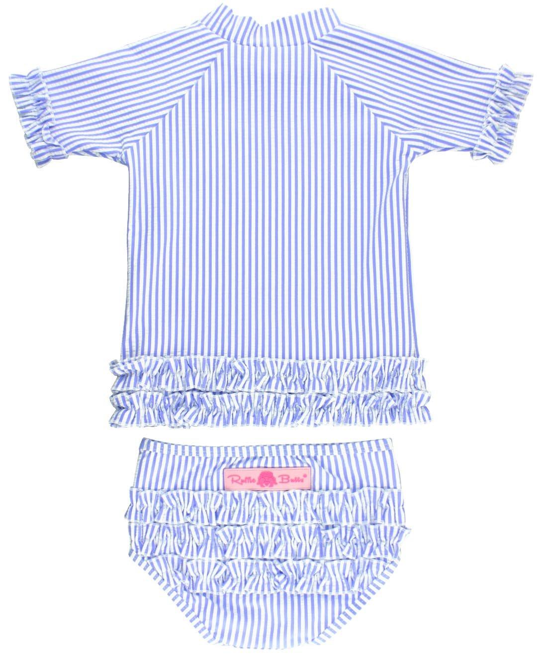 88852ecfe Galleon - RuffleButts Little Girls 2-Piece Swimsuit Set - Blue Seersucker  Rash Guard Bikini With UPF 50+ Sun Protection - 3T