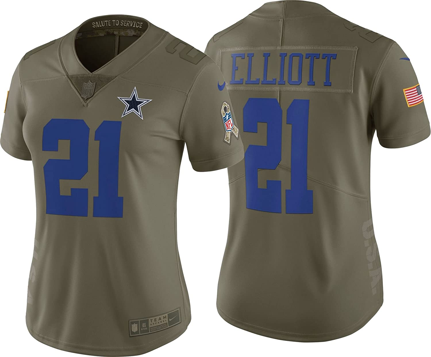 reputable site c9f38 613cf Dallas Cowboys Womens Ezekiel Elliott #21 Nike Limited Salute to Service  Jersey