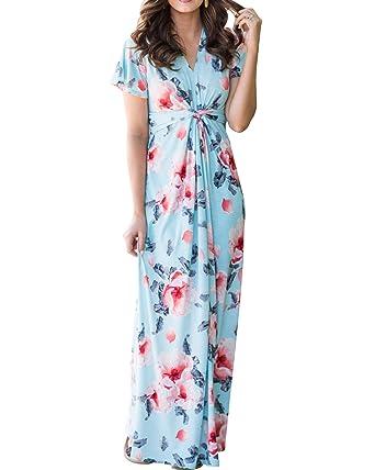 ffa30c02a86 Women s Floral Maxi Dress V Neck Short Sleeve Twist Knot Long Dresses at Amazon  Women s Clothing store