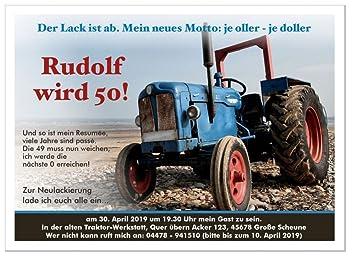 Einladungskarte Zum 30 40 50 60 Geburtstag Traktor Manner