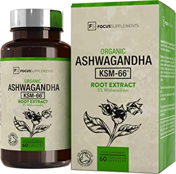 KSM 66 Ashwagandha Capsules Organic [300mg] Soil Association Certified by  Focus Supplements | KSM66 60 Vegan Pills | Natural Immune & Stress Support  -