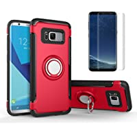 for Samsung Galaxy S8 Case with Screen Protector ,OYIME [Soft Rubber+Hard Plastic] Dual Layer Hybrid with 360 Degree Rotating Ring Holder Kickstand and Car Magnetic Back Drop Protection Cover - Red
