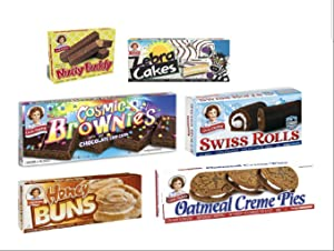 Little Debbie Bundle Pack Nutty Buddy, Oatmeal Creme Pies, Swiss Rolls, Zebra Cakes, Cosmic Brownies, and Honey Buns 1 Box of each