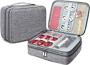 Electronic Organizer Travel Cable Accessories Bag Portable Gadget Storage Cases Waterproof Universal Cord Storage Pouch for Office Home(Double Layer,Gray)