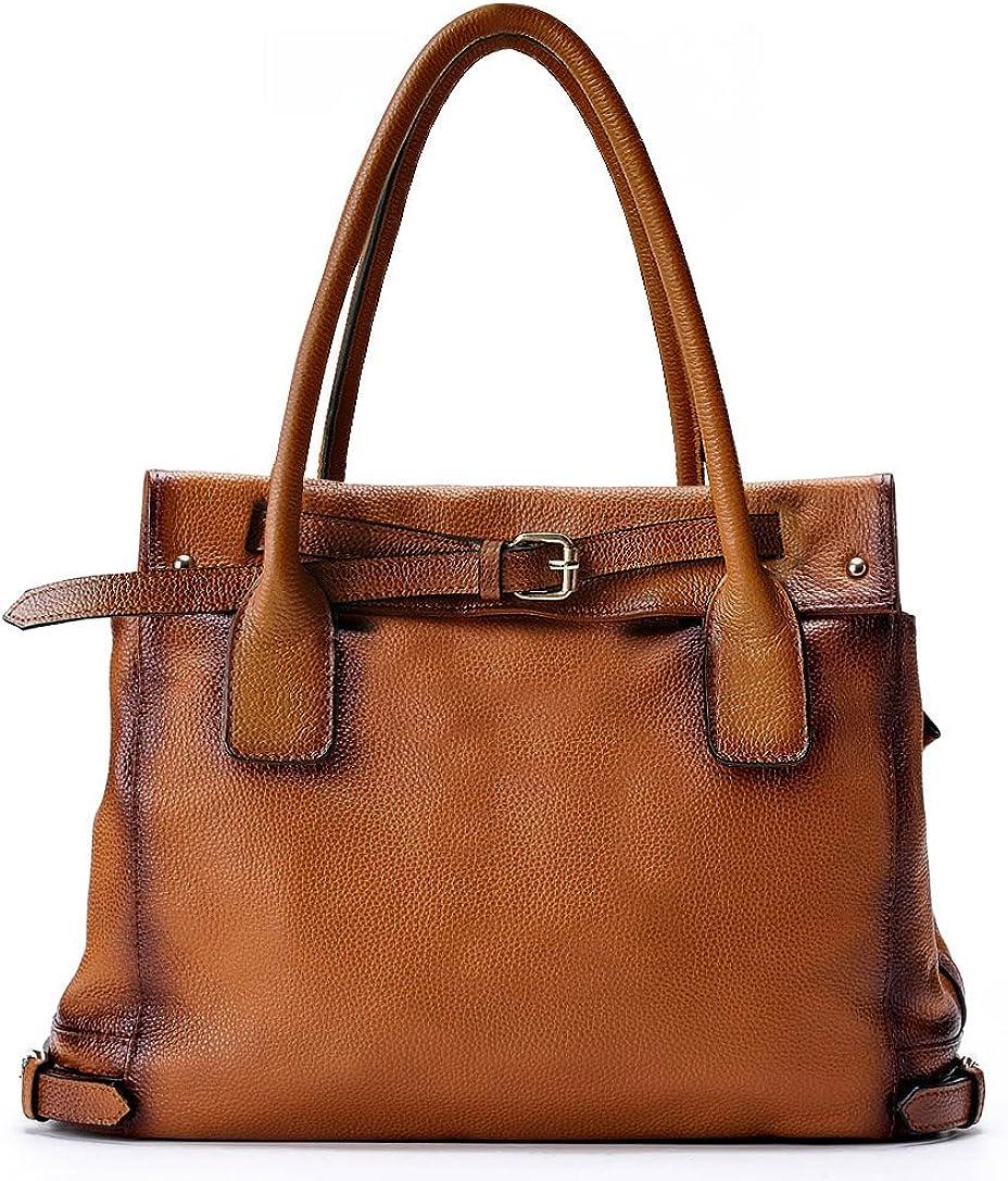 8 Pocket Multi-Function Genuine Leather Purse Handbag w//Organizer Top Handle