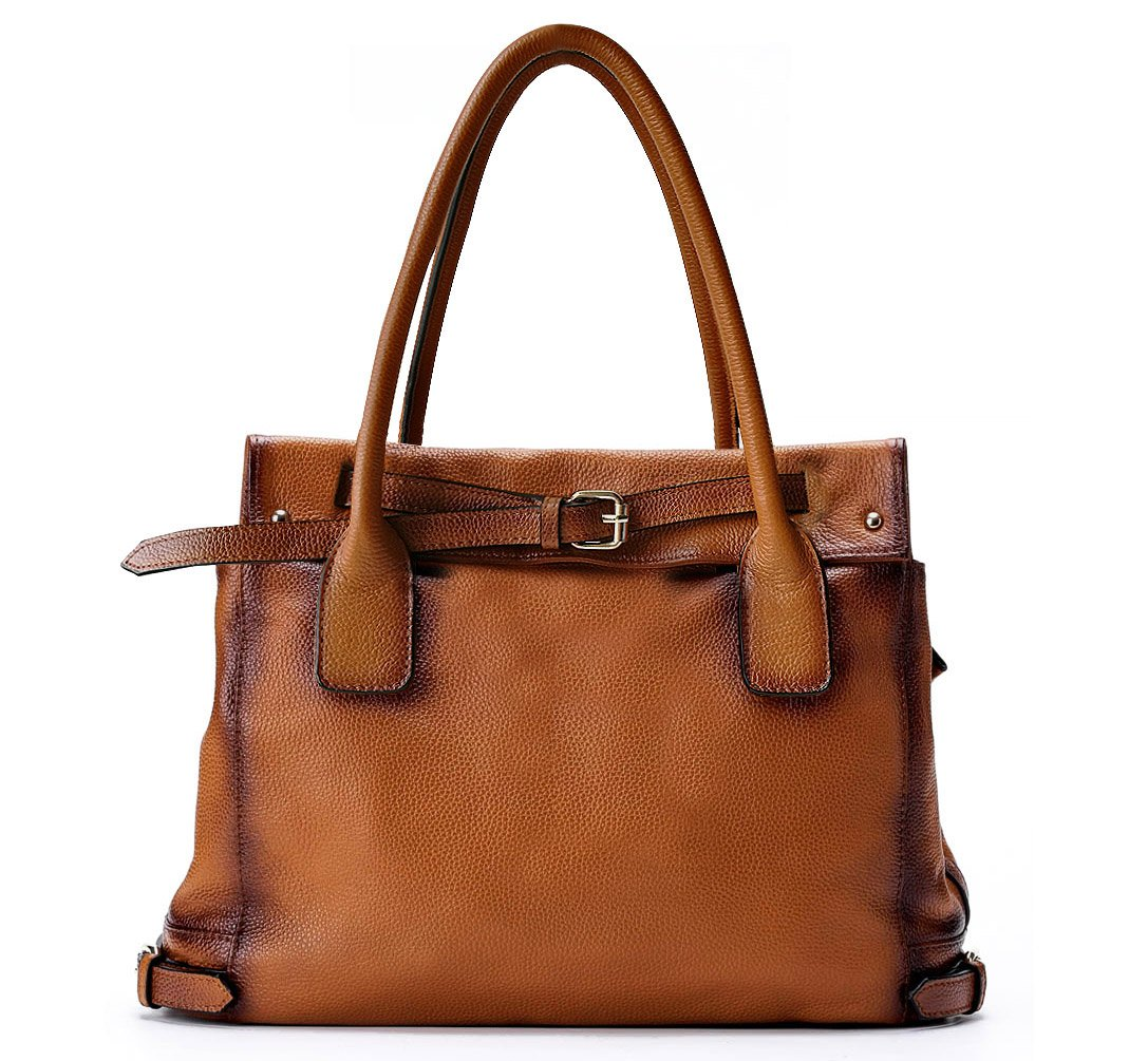La Poet Genuine Leather Shoulder Tote Bag (Camel)