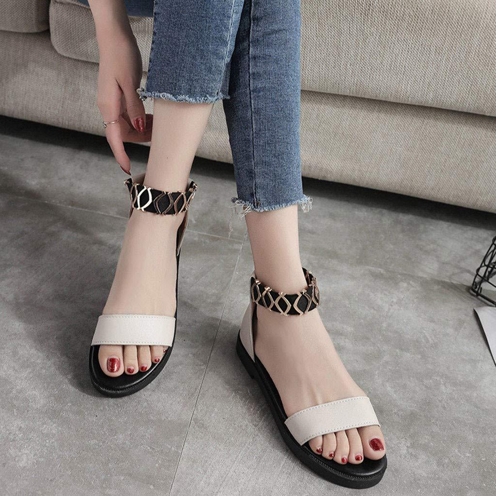 Women Sandals,Womens Fashion Casual Elastic Band Flat Peep Toe Sandals Ladies Girls Low Heels Work Shoes