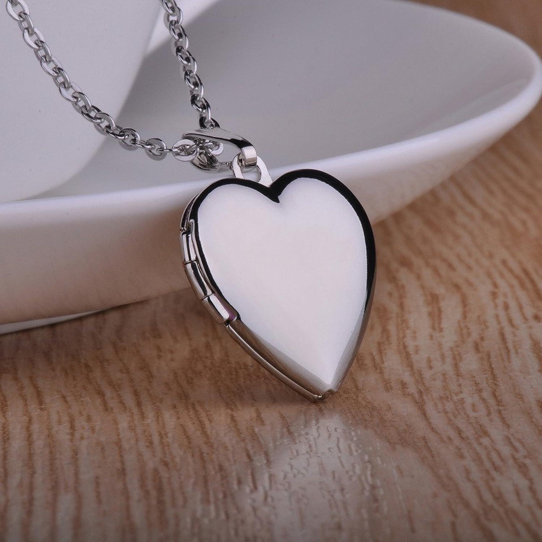 Infinite U Open Heart Titanium Women Photo Locket Pendant/Necklace (Enable to Engrave Words) Silver 18KB4blW
