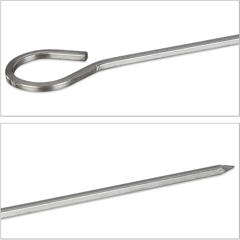 Set da 10 Spiedi da Barbecue argento Spiedini in Acciaio inox Lunghezza da 30 cm Bastoncini per Fingerfood Relaxdays