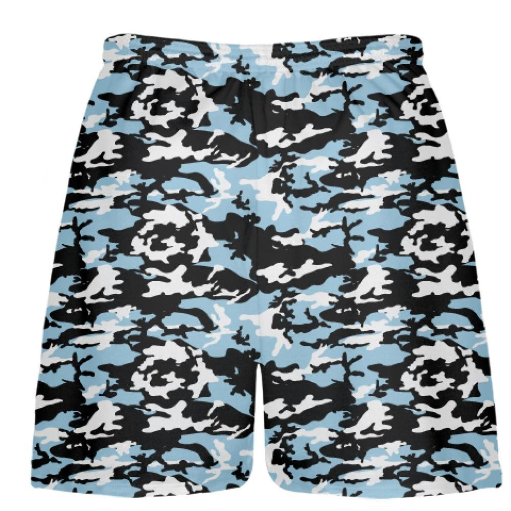 Youth Light Blue Black Camouflage Lacrosse Shorts Boys Camouflage Lacrosse Shorts Blue