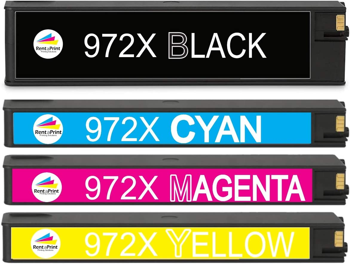 Black Cyan Magenta Yellow, 4 Pack F6T84AN L0R98AN L0S01AN L0S04AN ZET Re-Manufactured Ink Cartridge Replacement for HP 972X