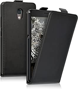 kwmobile Vertical Flip Case Compatible with Lenovo P2 - PU Leather Protective Flip Cover with Magnet - Black