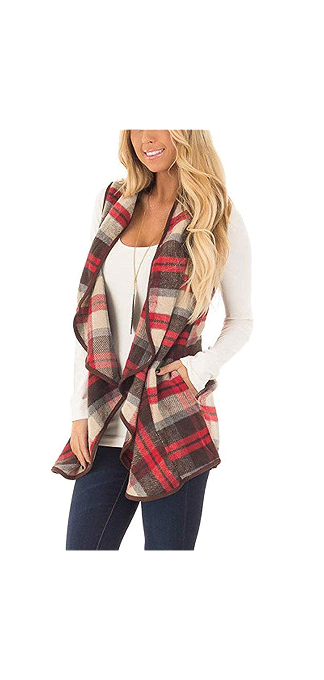 Womens Casual Lapel Sleeveless Open Front Plaid Vest