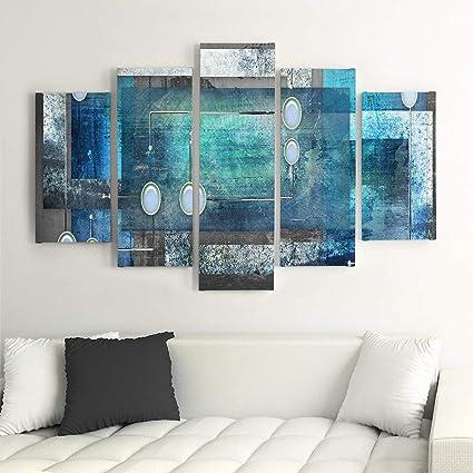Taille: 40x60 cm Abstraction des Couleurs Bloomnjazz Deco Panel Tableau Panneau Decoration Murale Bleu Brun Jaune Feeby