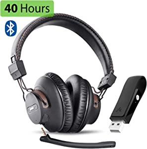 Avantree DG59M Wireless Gaming Headphones Set with Detachable Boom Mic and Bluetooth USB Audio Dongle for PS4, PC, Laptop, Computer, Nintendo Switch, Chat & Music, Easy Mute, No Delay, 40hrs Play Time